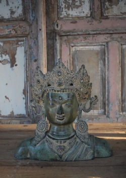 Bronze Decorated Head of Gautama Buddha <b>SOLD<b>